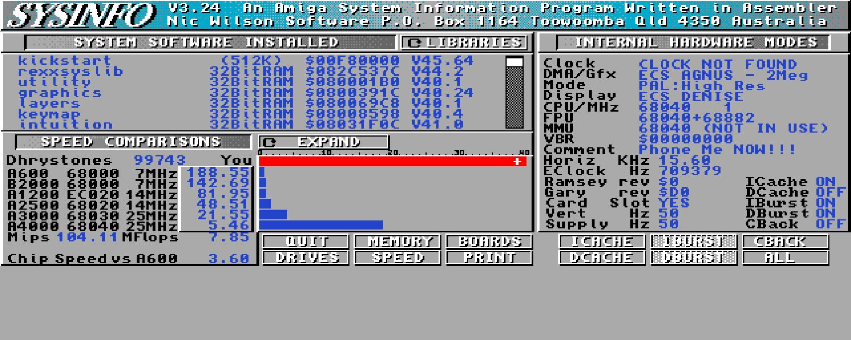 Vampire FEMU FPU 68080 benchmark sysinfo
